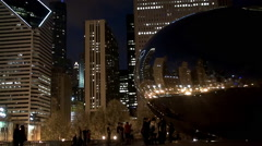 Cloud Gate sculpture in the Millennium Park at night. Stock Footage