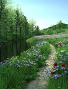 Country road passes  through Meadow near a river Stock Illustration