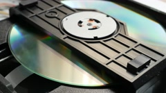 Compact disc reading mechanism inserting media 4K 2160p UltraHD footage - DVD - stock footage