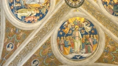 4k church ceiling fresco oil religious painting cathedral Stock Footage