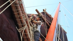Pirate boat sail ship old rugged - stock footage