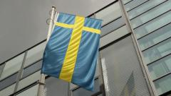 Flags: National Flag of Sweden Stock Footage