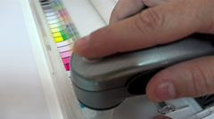 4K Print Spectrophotometer on Chart color control measurement. UHD stock foot Stock Footage