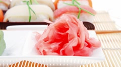 Japanese Traditional Cuisine : Different Types of Nigiri Sushi Stock Footage