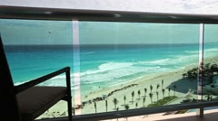 View from luxury resort balcony on caribbean sea beach Stock Footage