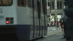 AMSTERDAM, NETHERLANDS - CIRCA 2013: Shot of a busy street on 2013 in Amsterdam, Stock Footage