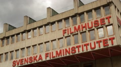 Swedish Film Institute  against grey sky - Filmhuset in Stockholm Stock Footage