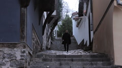 Man Walking On a Street Of Plovdiv - The European Capital of Culture 2019 Stock Footage