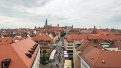 Nuremberg old town with market by day timelapse Stock Footage