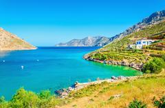 Amazing sea bay on Greek Island Stock Photos