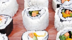 California Roll with Avocado Salmon and live crab Stock Footage