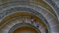 People walking down vatican museum stairs 4k staircase tourists italy rome Stock Footage