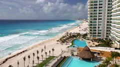 MEXICO, CANCUN - 14 MARCH 2015: Luxury hotel Bay View Grand Porto Fino with pool Stock Footage