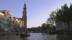 AMSTERDAM, NETHERLANDS - CIRCA 2013: Panning shot of Clock Tower and other Stock Footage