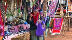 Lahu Hill Tribe Woman, Northern Thailand Stock Footage