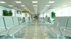 Empty lounge area, voice announce on chinese, ferry terminal Stock Footage