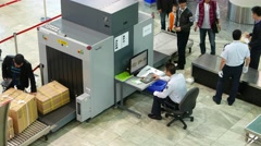 X-Ray scanner in airport, security inspection for passenger luggage Stock Footage
