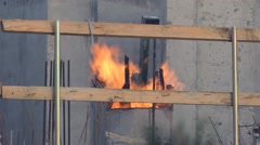 Fire on a construction site to warm up Stock Footage
