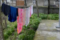 Washing hang  out on the clothes-line - stock photo