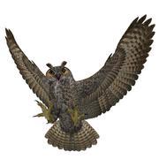 "3D Rendered Bubo Virginianus ""Great Horned Owl"" - stock illustration"