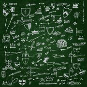 Collection of individual hand drawn elements - stock illustration
