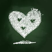 Sketchy love heart design on blackboard - stock illustration