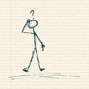 Stick man with a question - stock illustration