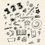 selection of old school doodles - stock illustration