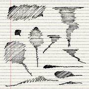 A selection of simple scribbles - stock illustration