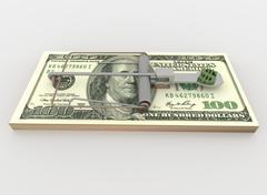 Mouse Trap from 100 Dollar Bill Bundle, Render on White - stock illustration