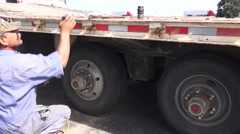 roadside repair ,Big Rig tire change, Stock Footage