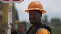 Close up of a road construction worker. - stock footage