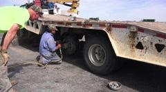 Stock Video Footage of   Emergency repair service,Big Rig tire change,
