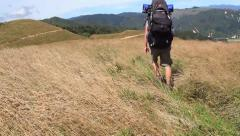 Walker in high tussock grass with big backpack Stock Footage
