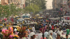 Colorful crowds visit shopping street before Diwali festival in India Stock Footage