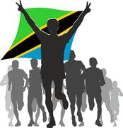 Stock Illustration of Athlete with the Tanzania flag at the finish