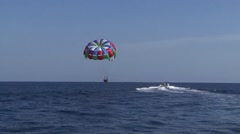 Boat Pulling Parasail On Water In mexico Stock Footage