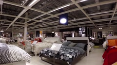 One side of people shopping their furniture  inside Ikea store Stock Footage