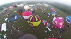 Hot air balloons aerial view Stock Footage