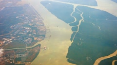 Aerial View of a Verdant Delta on a Navigable River Stock Footage