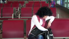 Beautiful woman looks for passport at airport plane flight departure. 4K UHD Stock Footage