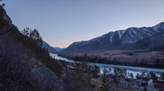 Mountain river in Altai, Russia. Winter Stock Footage