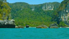 Limestone Cliffs over a Protected Natural Harbor Stock Footage
