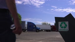 California recycling at rest stop along freeway Stock Footage