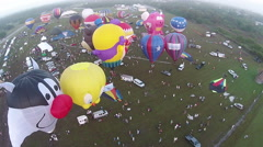 Hot air balloon event aerial view Stock Footage