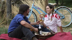 Slow static shot of a young couple having an outdoor picnic Stock Footage