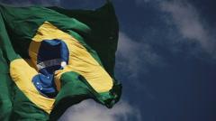 High Speed shot  of Brazilian Flag Stock Footage