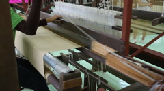 Loom weaving by hand Stock Footage