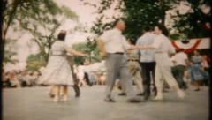 2155 - big outdoor square dance festival at local park - vintage film home movie Stock Footage