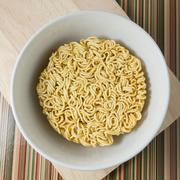 Cuisine and Food, Asian Ramen Dried Instant Noodles Blocks for Cooked or Soak - stock photo